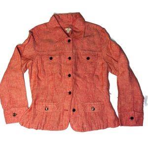 J. Jill 100% linen utility jacket coat size medium